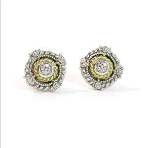 JUDITH RIPKA Silver/Gold Diamond Stud Earrings